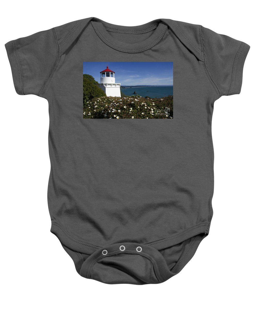 California Dreaming Baby Onesie featuring the photograph Trinidad Lighthouse California by Bob Christopher