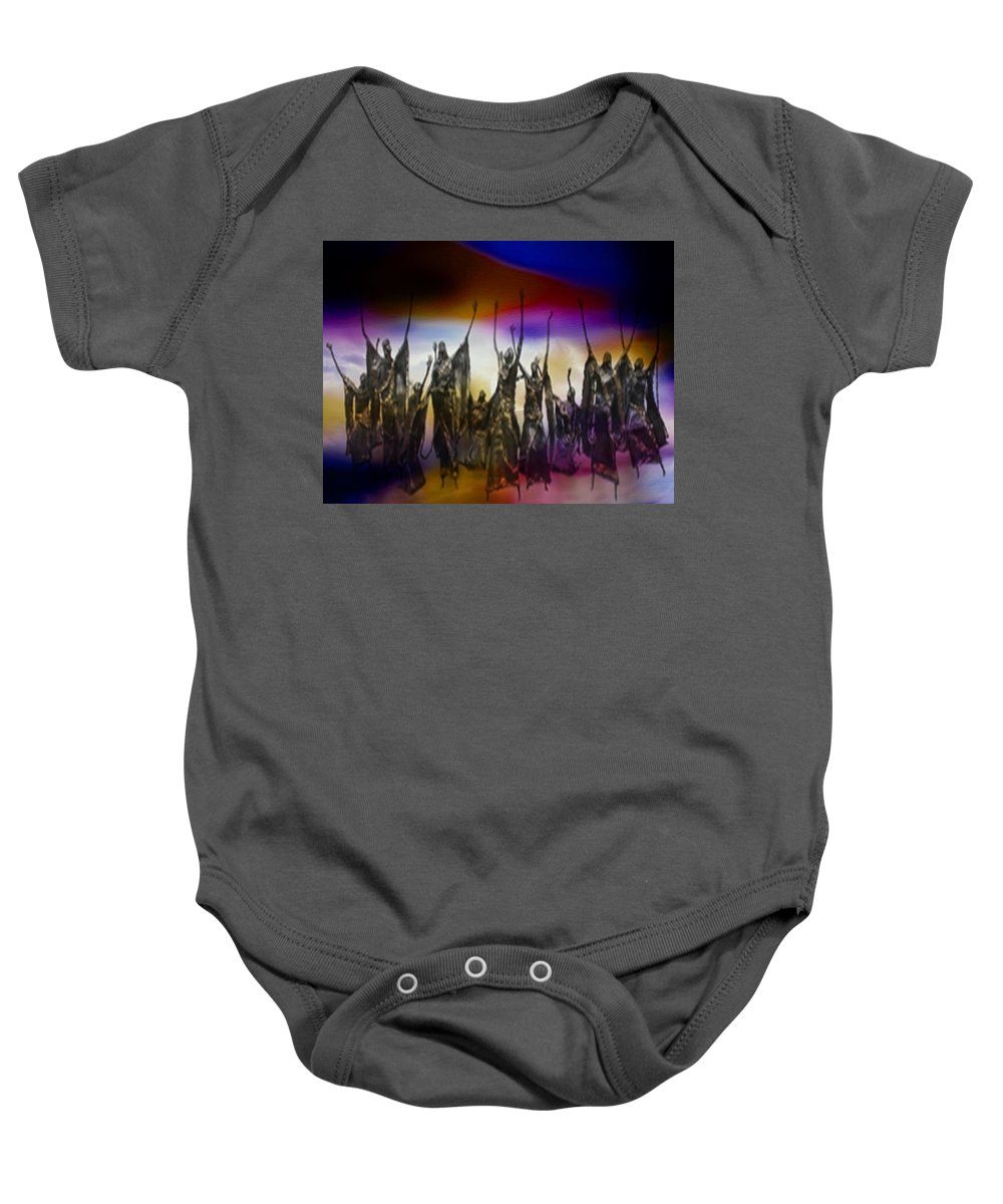 Mixed-media On Paper. 17 Figures. Sacred Art. Baby Onesie featuring the painting Trinity Thanksgiving by Marshall Thomas