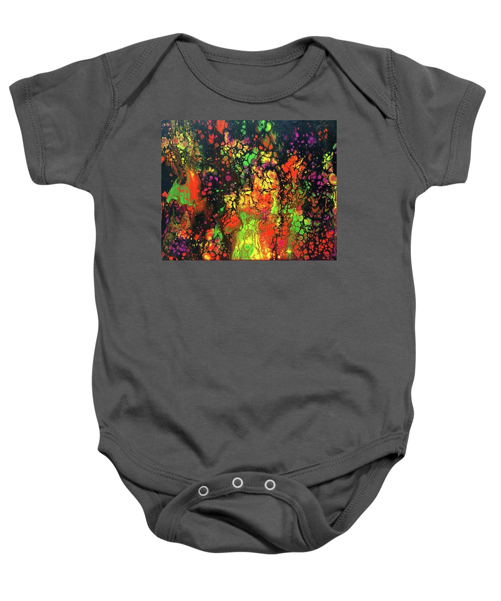 Abstract Acrylic Pour Baby Onesie featuring the painting Trippin' In The 70's #13 by Karen Chatham