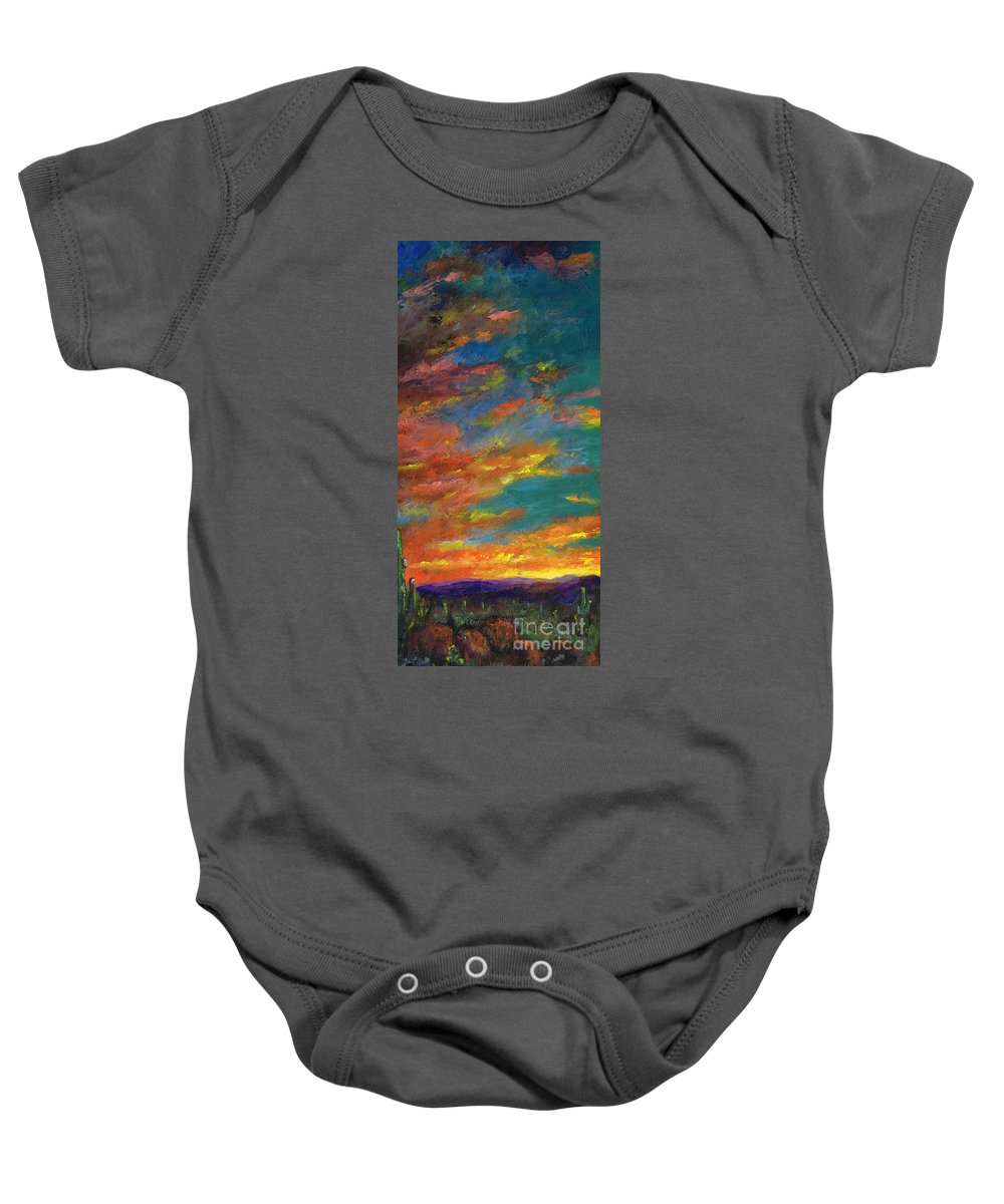 Desert Baby Onesie featuring the painting Triptych 1 Desert Sunset by Frances Marino
