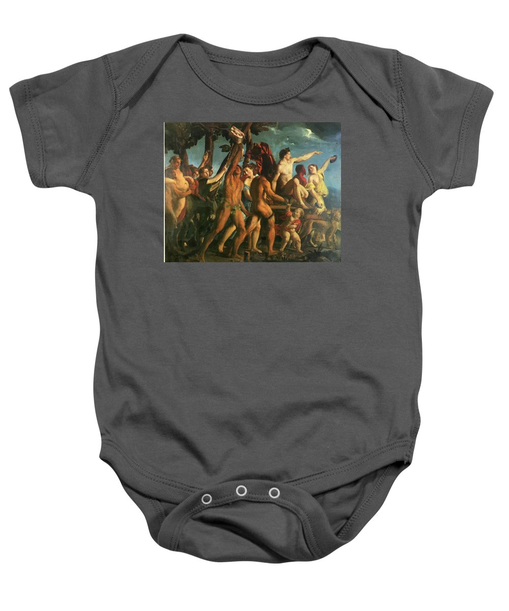 Triumph Baby Onesie featuring the painting Triumph Of Bacchus 1514 by Dossi Dosso