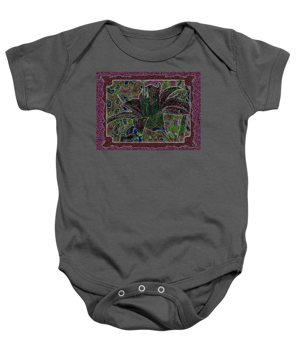 Tropical Lily 3 Baby Onesie featuring the digital art Tropical Lily 3 by Will Borden