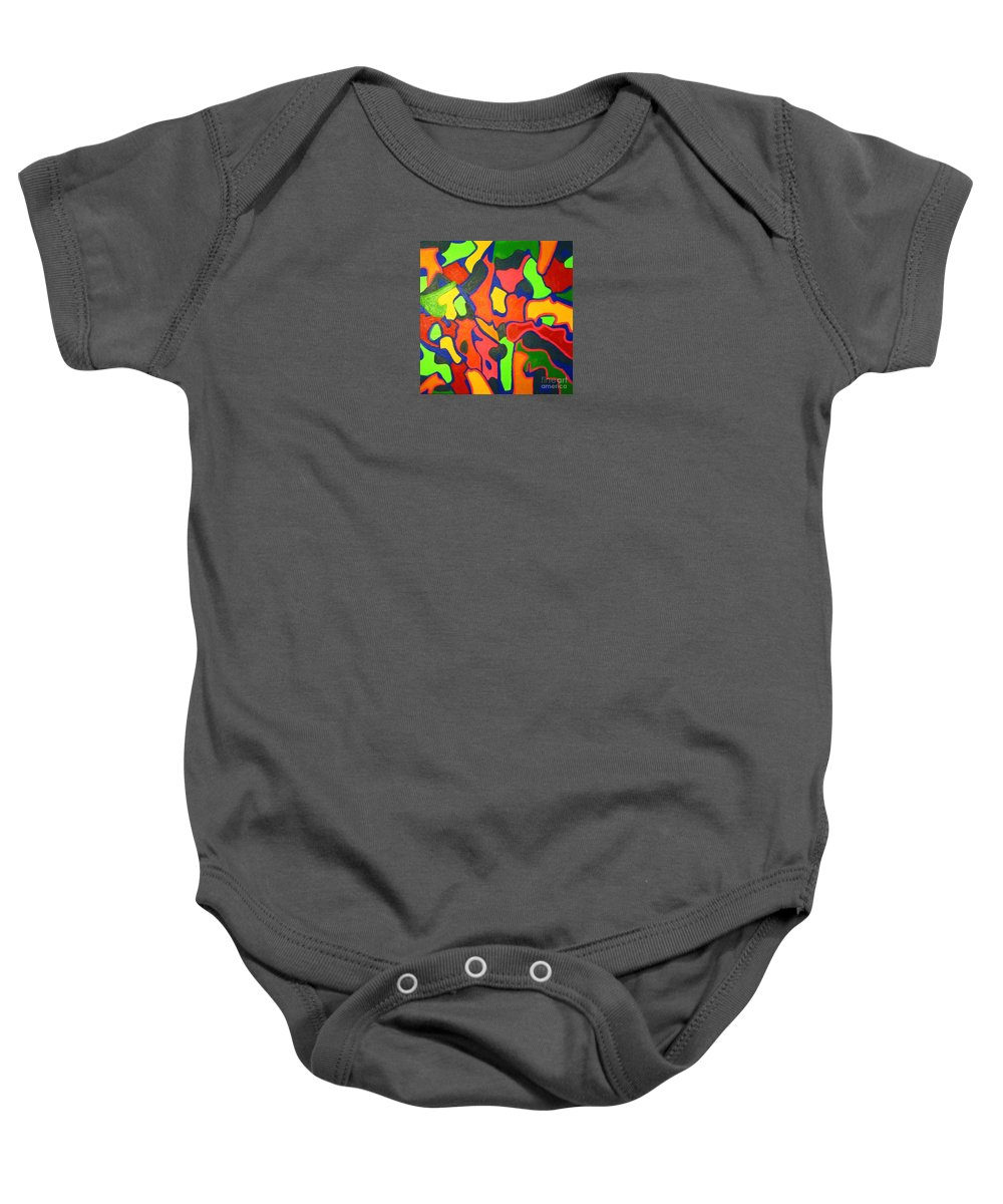 Eunice Broderick Baby Onesie featuring the painting Tropical Sunbathers by Eunice Broderick