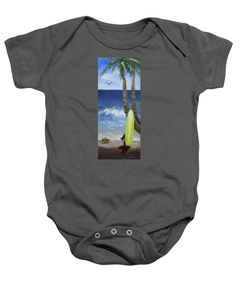 Palm Baby Onesie featuring the painting Tropical Surfboard by Jamie Frier
