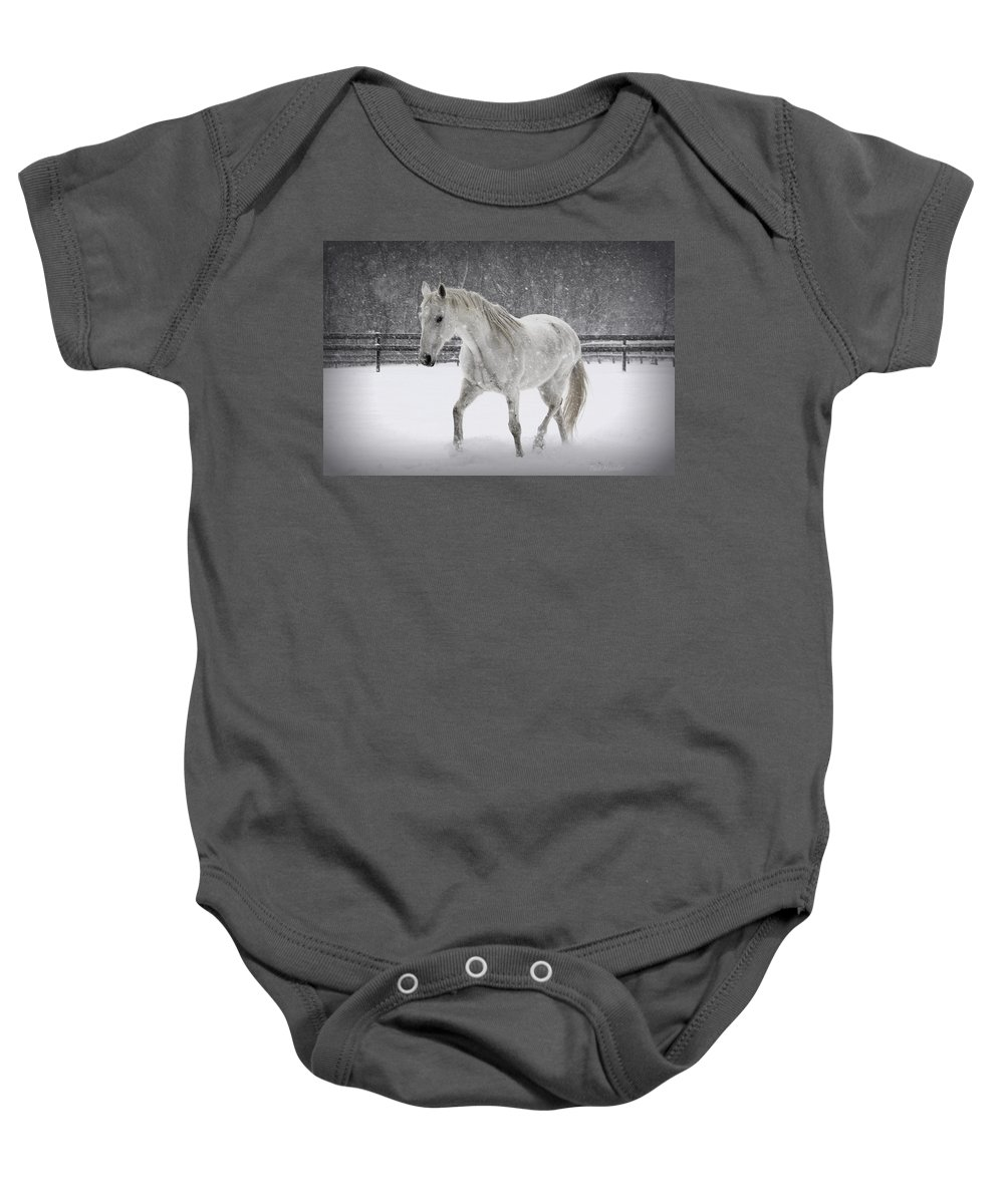 Horse Baby Onesie featuring the photograph Trot In The Snow by Tina Meador