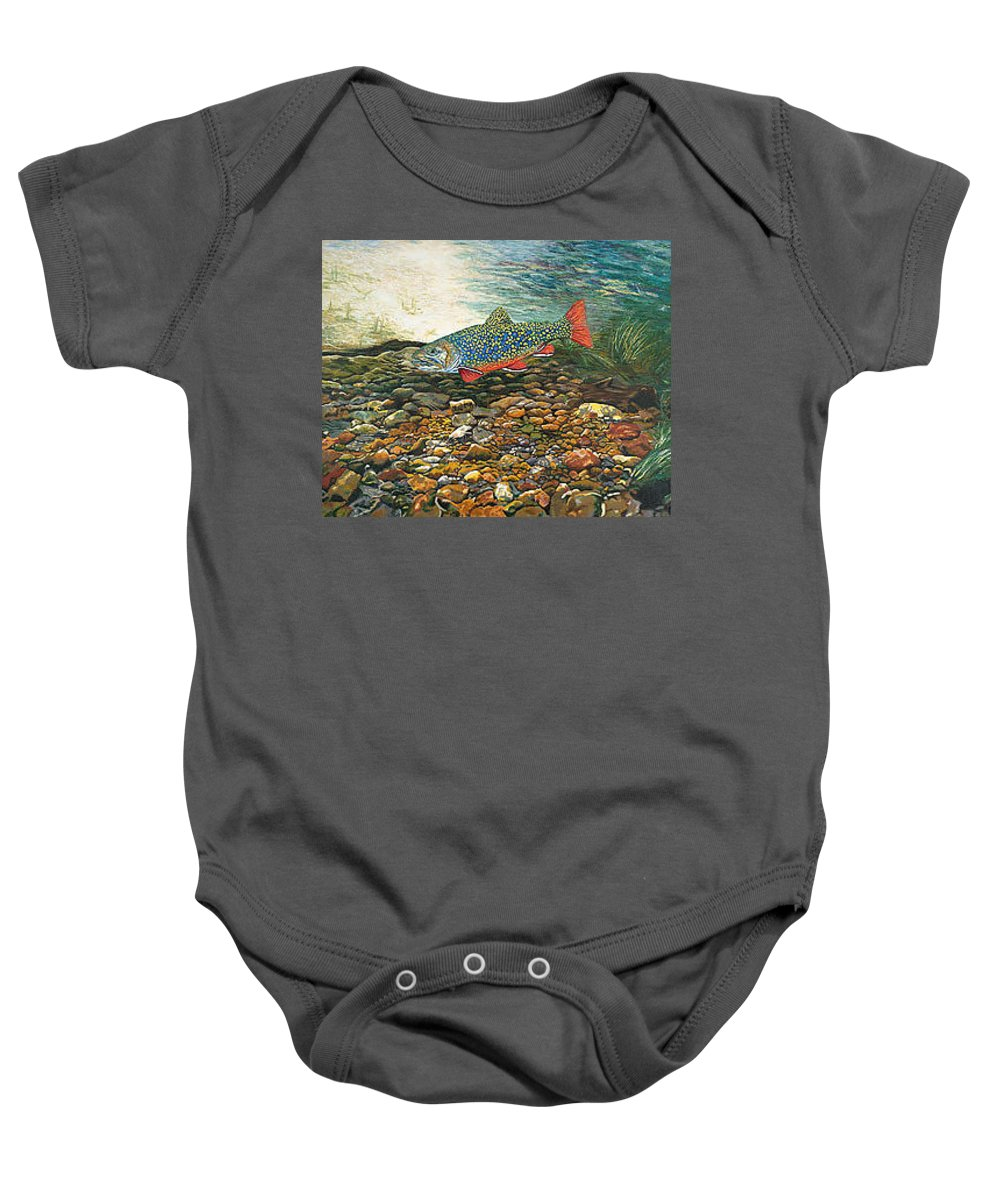 Art Baby Onesie featuring the painting Trout Art Fish Art Brook Trout Suspended Artwork Giclee Fine Art Print by Baslee Troutman