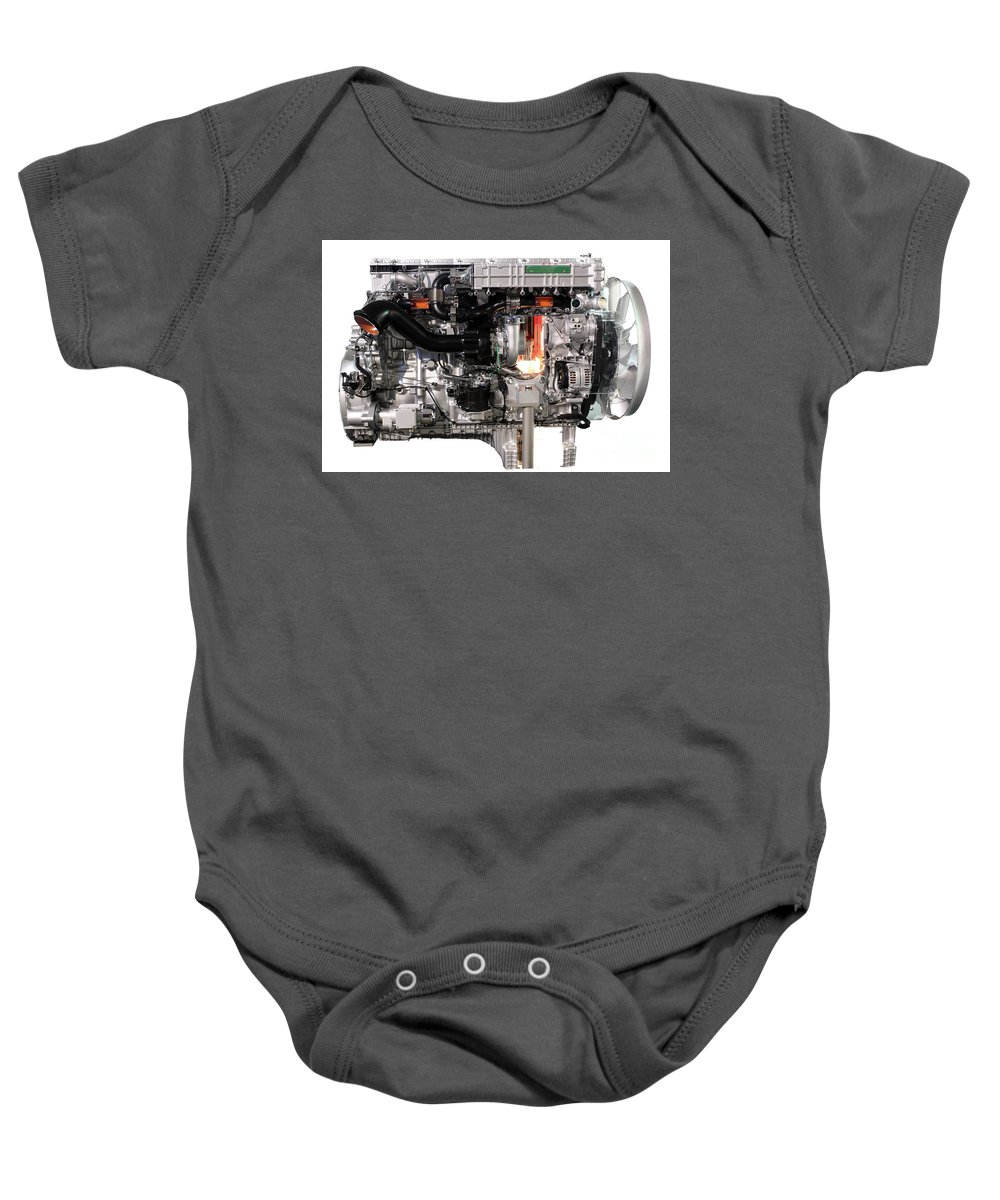 Engine Baby Onesie featuring the photograph Truck Diesel Engine Isolated On White by Goce Risteski
