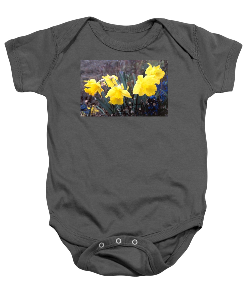 Flowes Baby Onesie featuring the photograph Trumpets Of Spring by Steve Karol