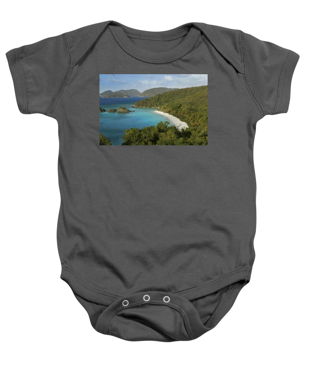 Sand Baby Onesie featuring the photograph Trunk Bay by Guy Crittenden