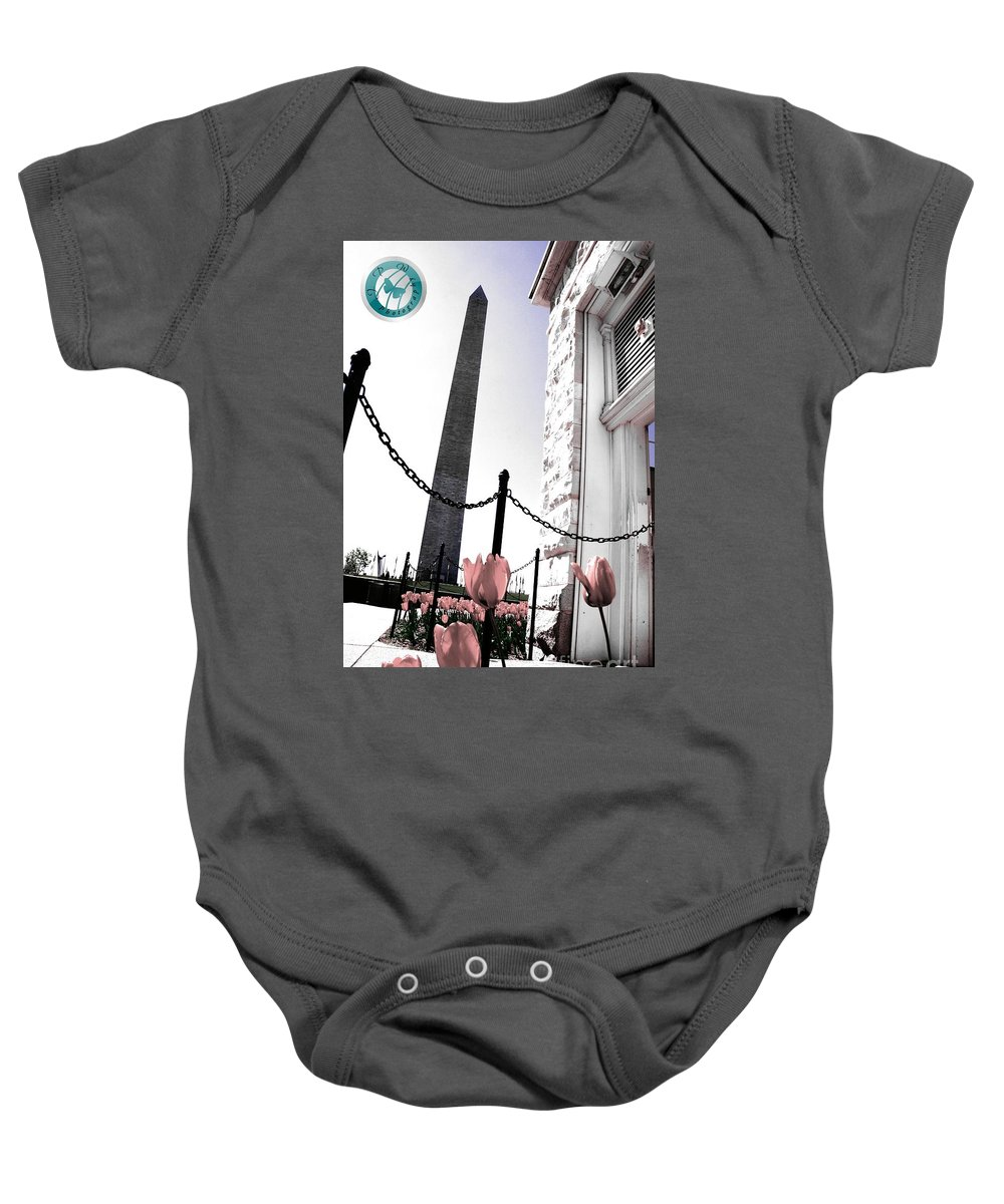 Editing Baby Onesie featuring the photograph Tuilps And The Washington Monument by Jannice Walker