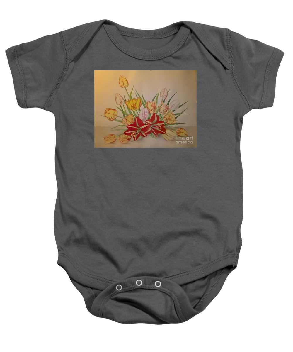 Tulip Baby Onesie featuring the painting Tulip by Peter Poraczky