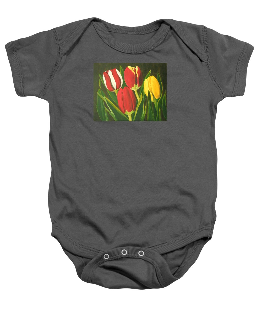 Tulips Baby Onesie featuring the painting Tulip Time by Brandy House