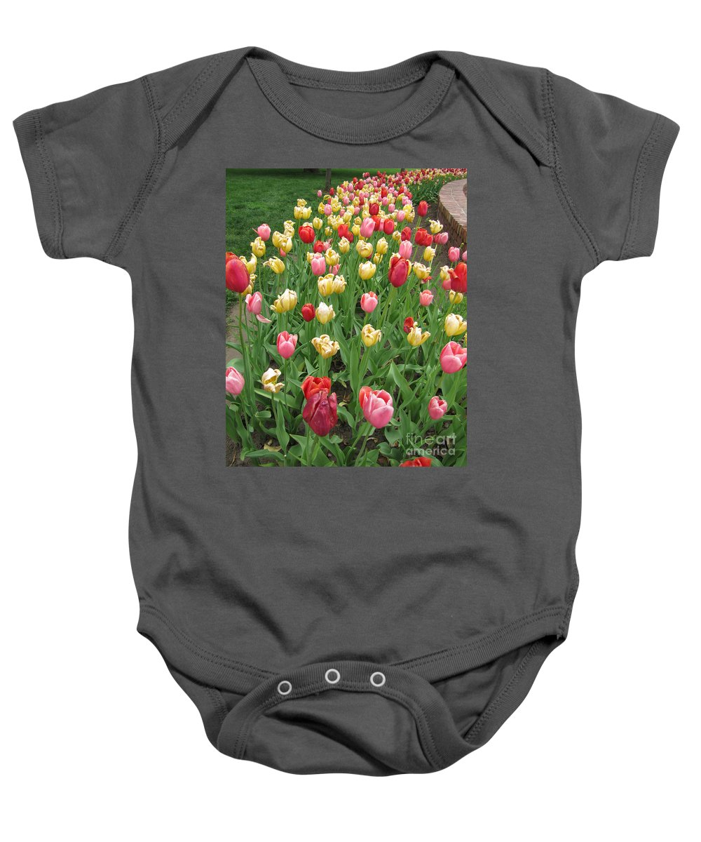 Flower Baby Onesie featuring the photograph Tulip Time Trail by Adri Turner