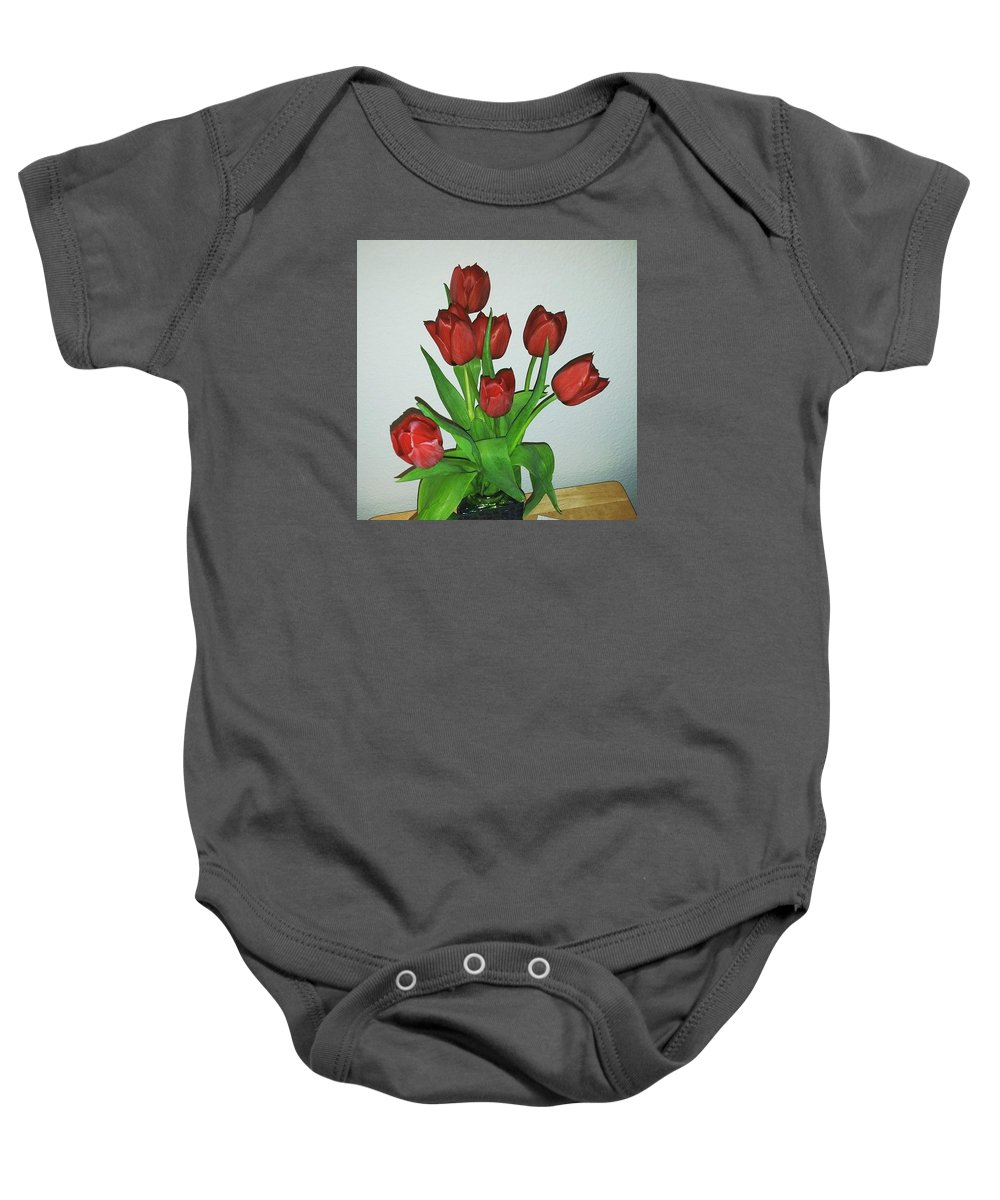Flowers Baby Onesie featuring the photograph Tulips For You by Lisa Cooley