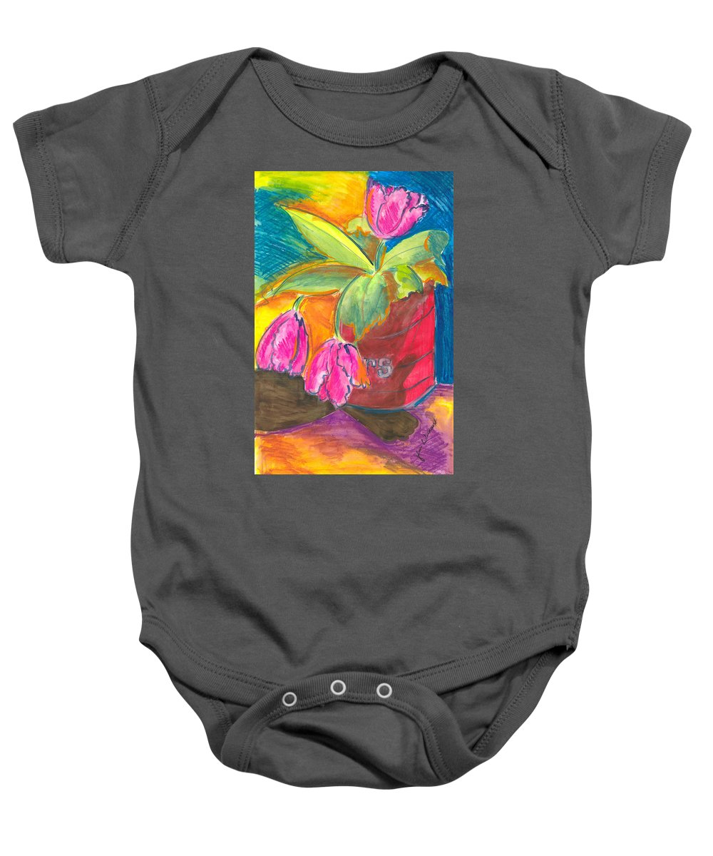 Flowers Baby Onesie featuring the painting Tulips In Can by Jean Blackmer