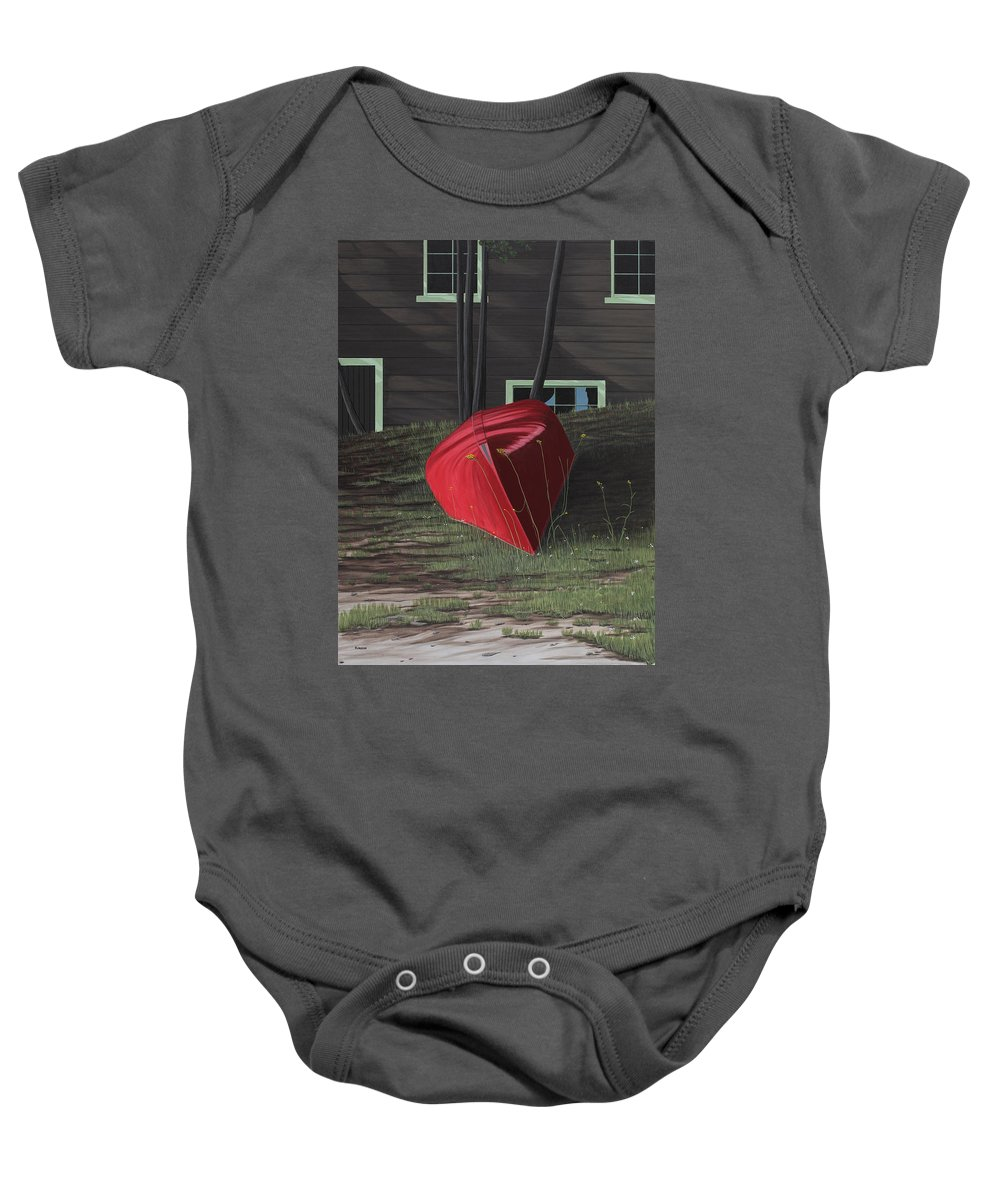 Canoes Baby Onesie featuring the painting Turned Down Day by Kenneth M Kirsch
