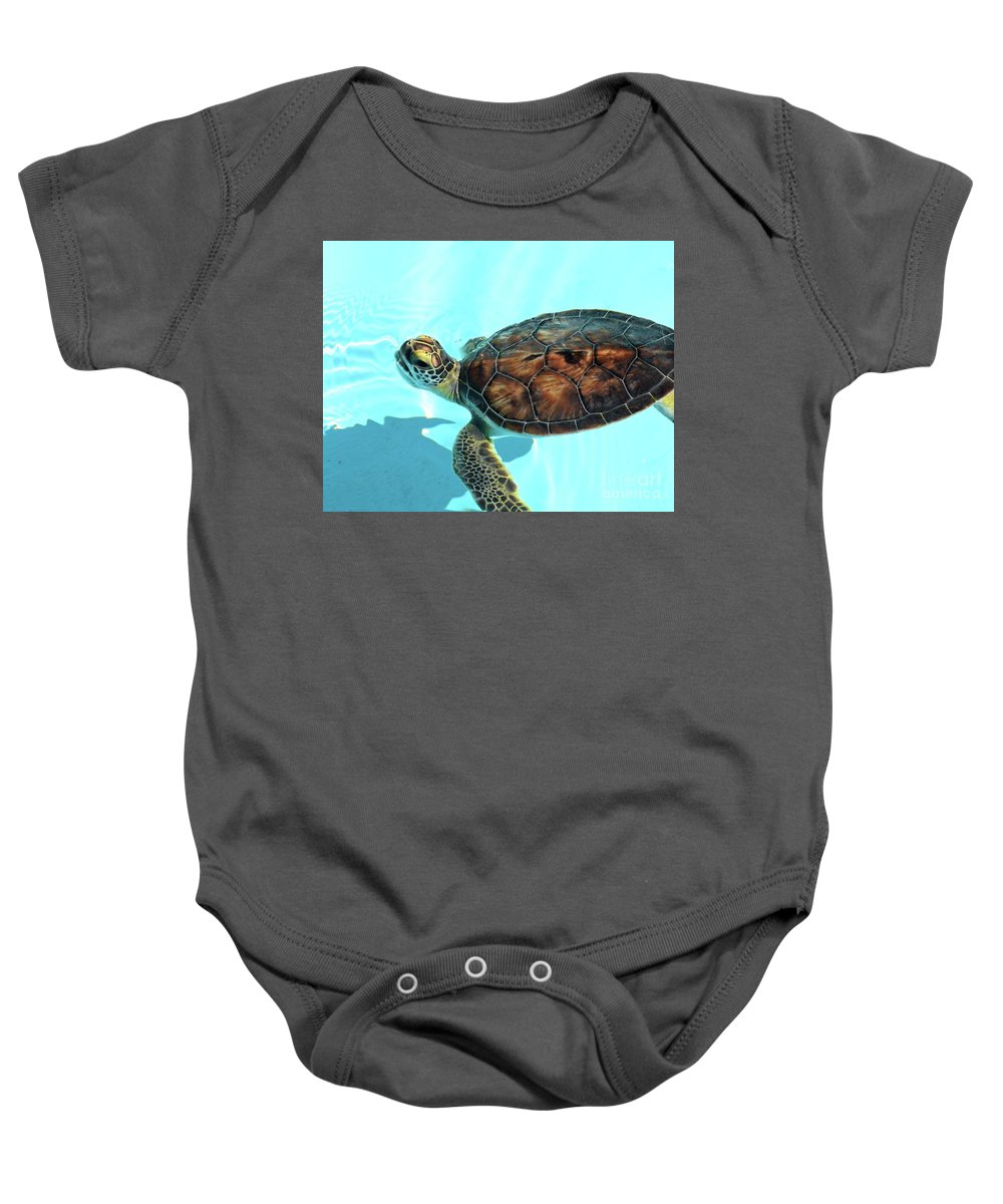 Turtle Baby Onesie featuring the photograph Turtle Close-up by Anna Gibson