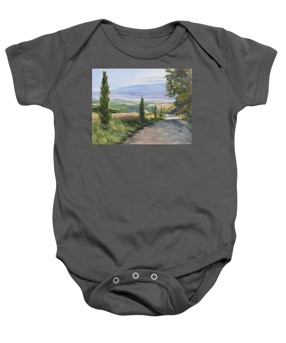 Landscape Baby Onesie featuring the painting Tuscan Walk by Jay Johnson