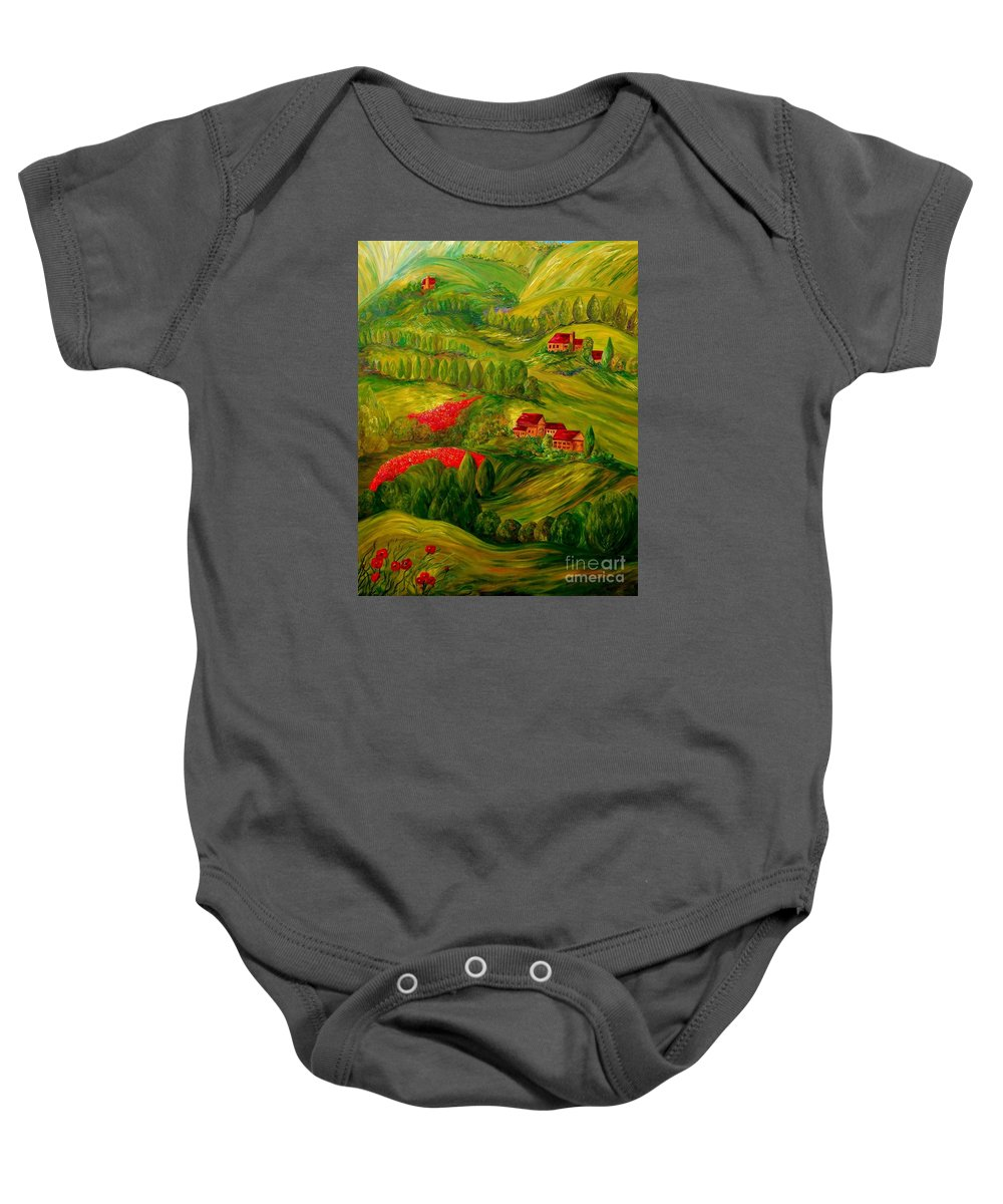 Tuscany Baby Onesie featuring the painting Tuscany At Dawn by Eloise Schneider