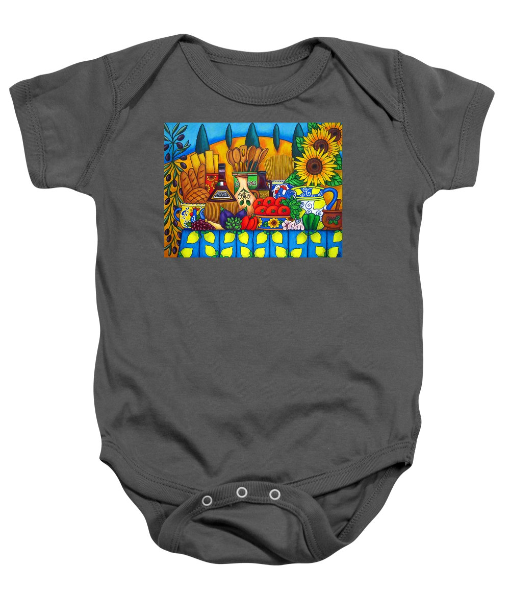 Still Life Baby Onesie featuring the painting Tuscany Delights by Lisa Lorenz