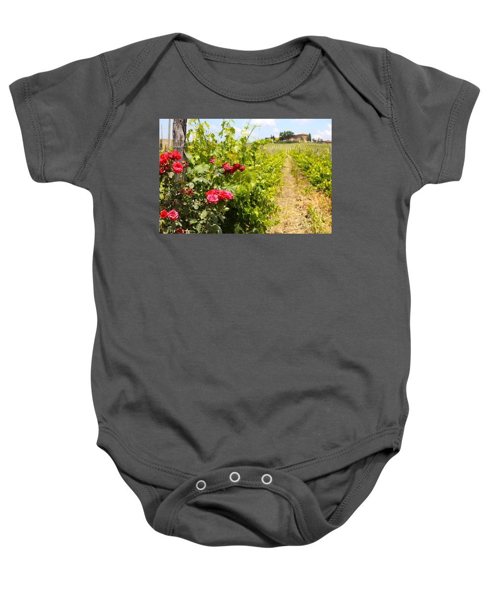 Roses Baby Onesie featuring the photograph Tuscany Villa And Roses by Nadine Rippelmeyer