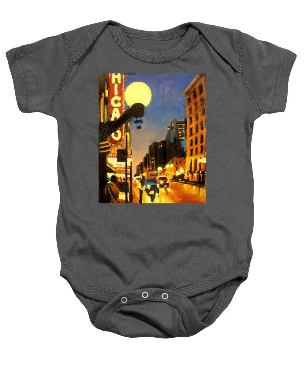 Rob Reeves Baby Onesie featuring the painting Twilight In Chicago - The Watcher by Robert Reeves