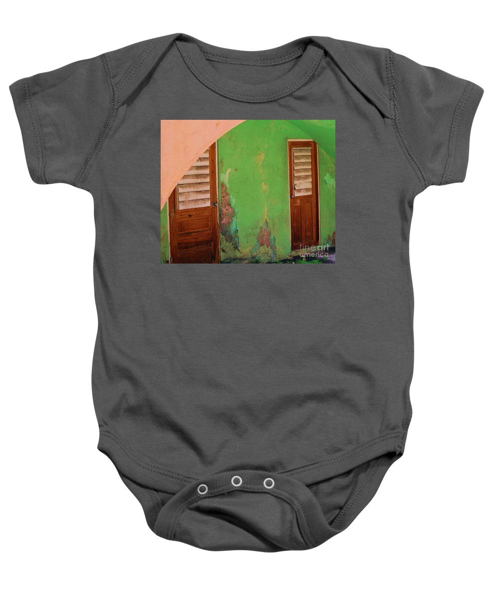 Doors Baby Onesie featuring the photograph Twin Doors by Debbi Granruth