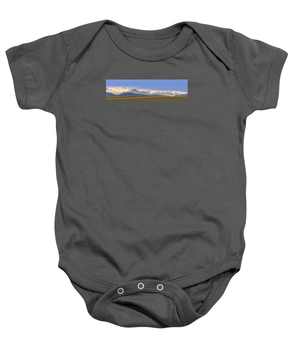 Twin Peaks Baby Onesie featuring the photograph Twin Peaks Panorama View From The Agriculture Plains by James BO Insogna