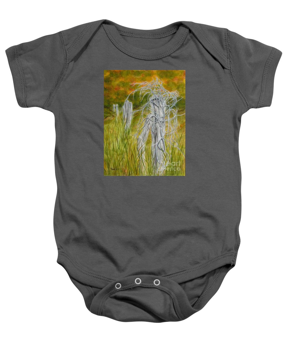 Landscape Baby Onesie featuring the painting Twisted by Regan J Smith