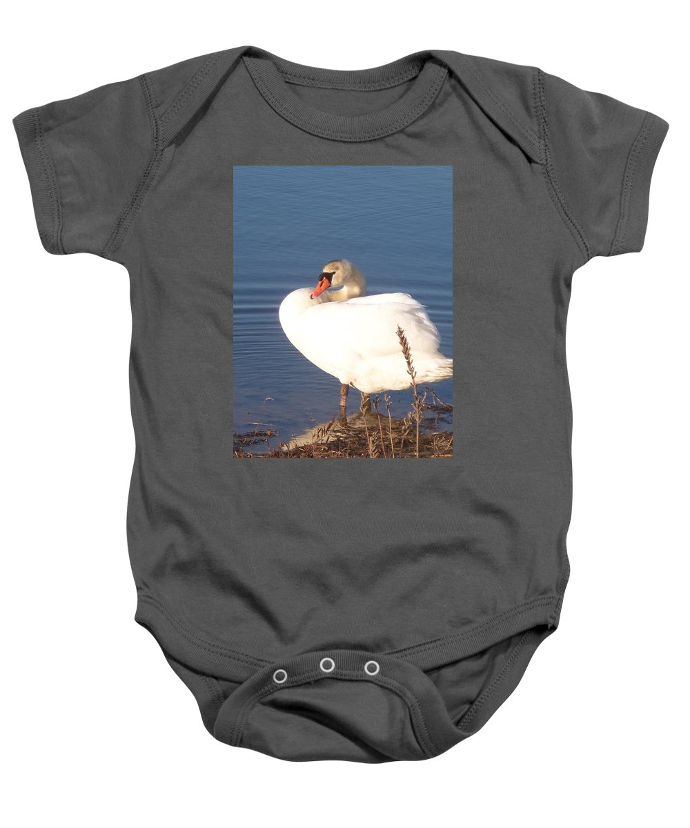 Twisted Baby Onesie featuring the painting Twisted White Swan by Eric Schiabor