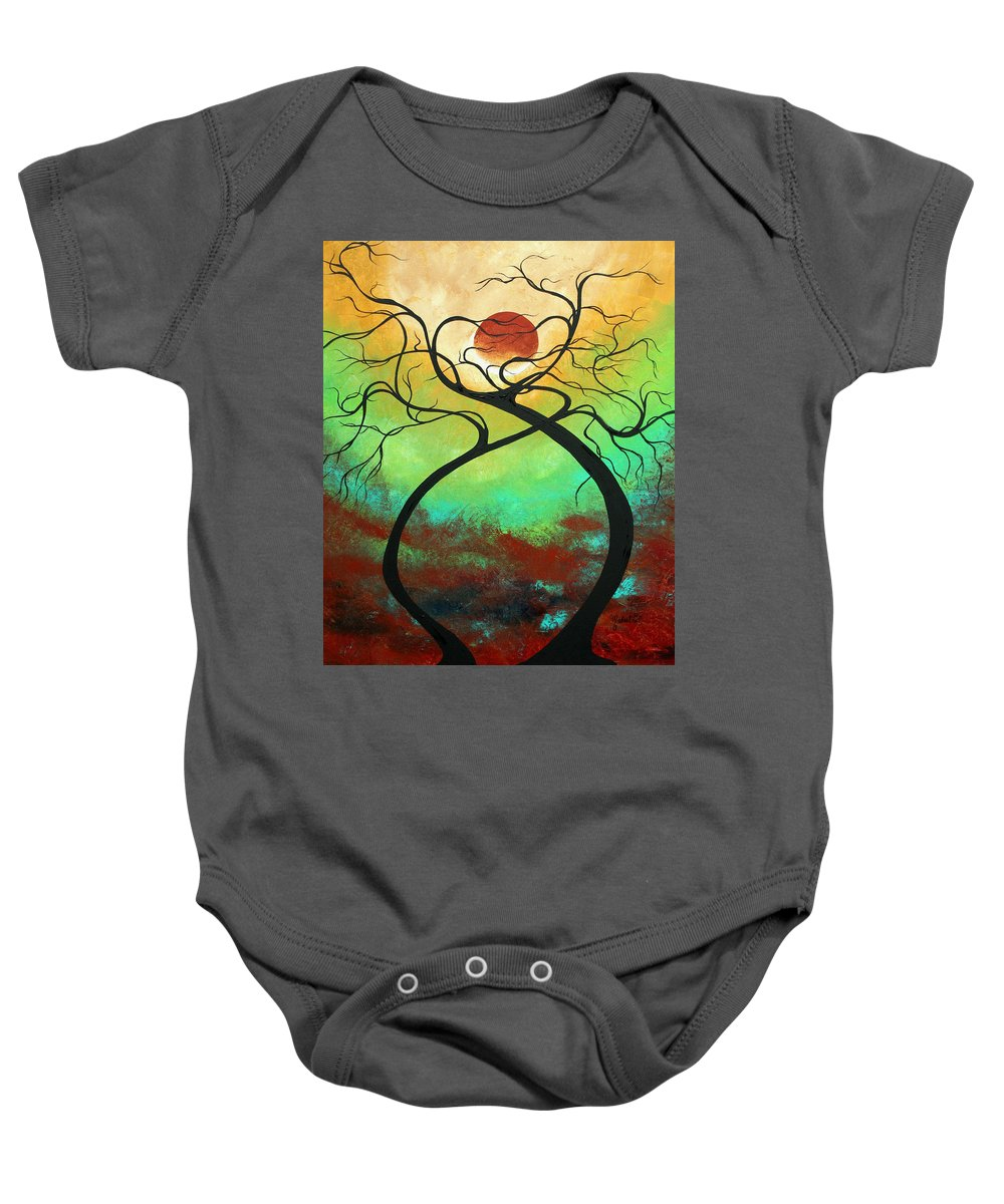 Landscape Baby Onesie featuring the painting Twisting Love II Original Painting By Madart by Megan Duncanson