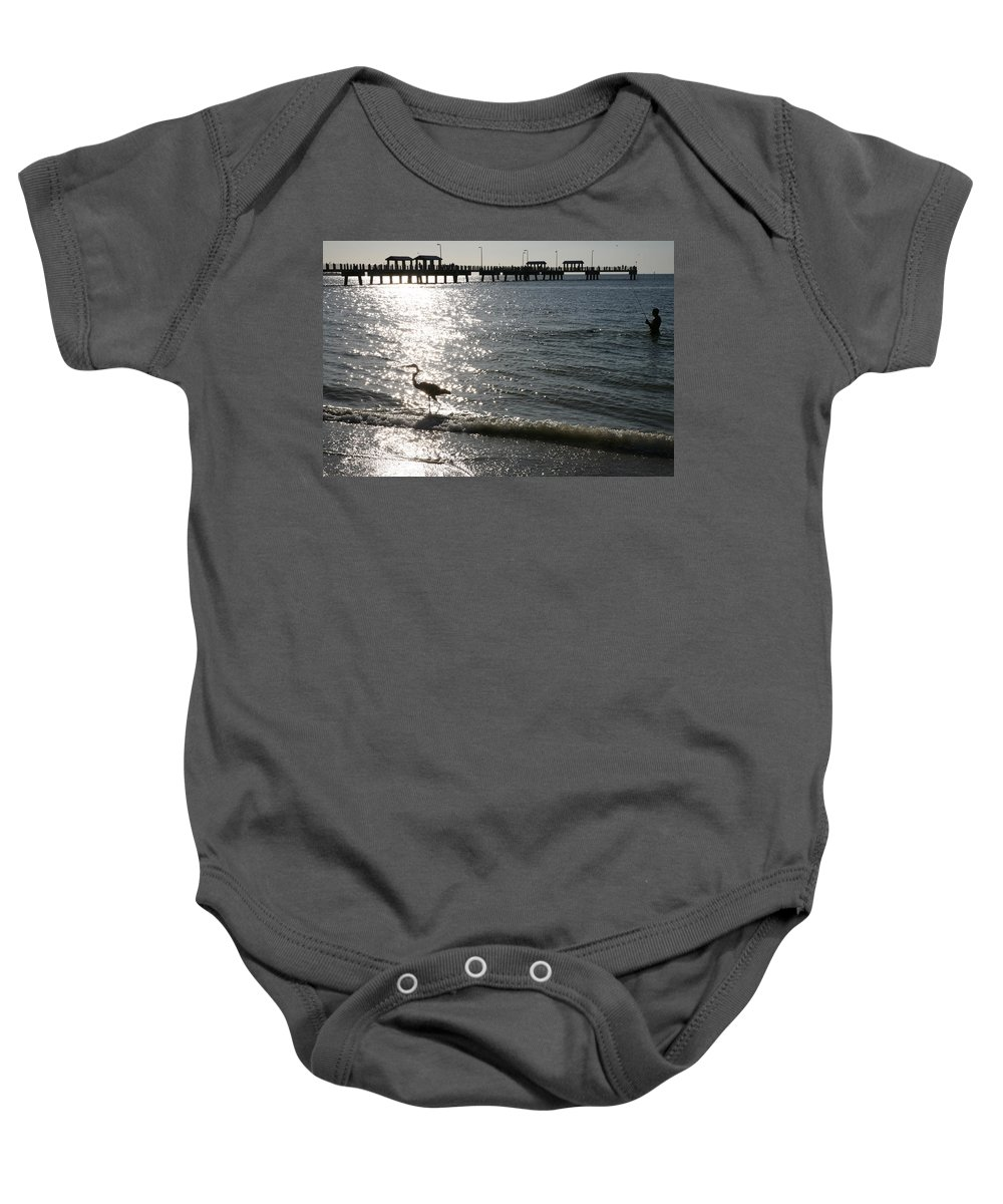 Fort De Soto Baby Onesie featuring the photograph Two Anglers At Fort De Soto by Mal Bray