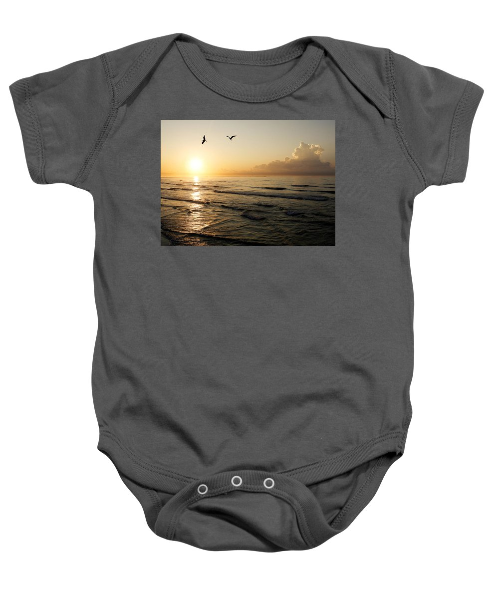 Beach Baby Onesie featuring the photograph Two Birds At Breakast by Marilyn Hunt