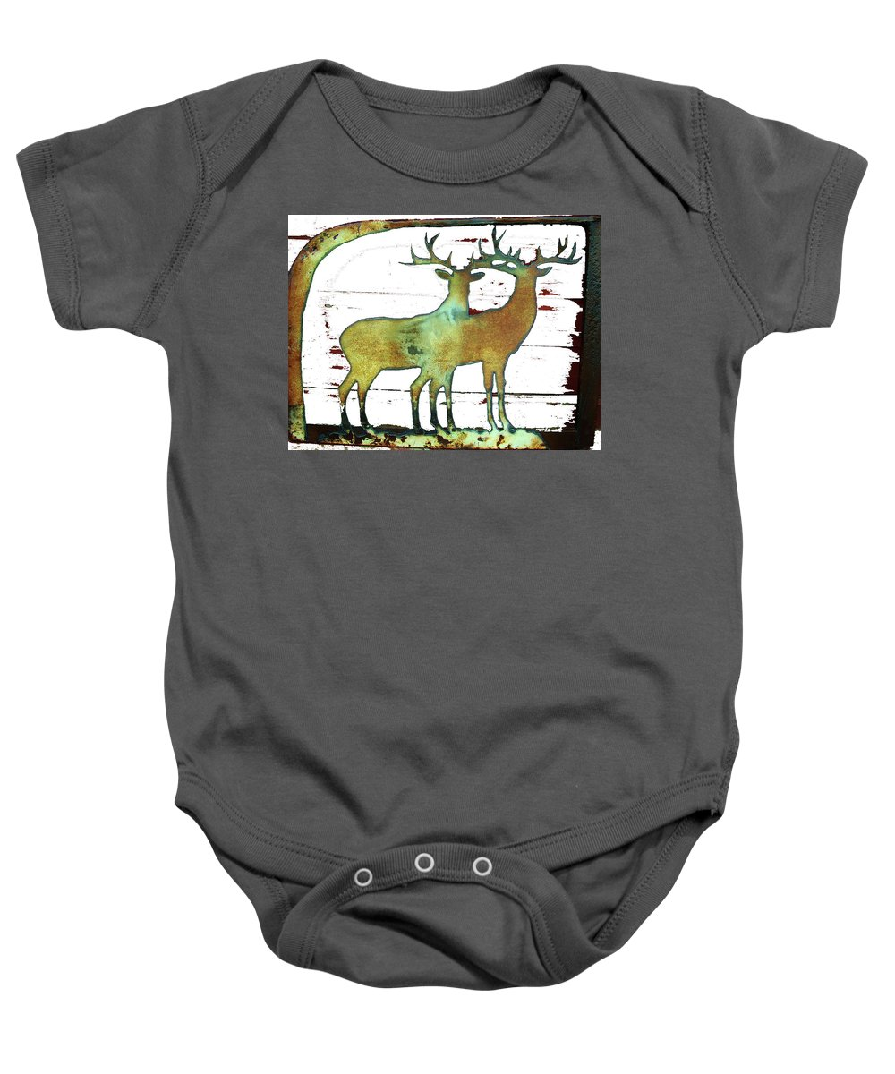 Dear Baby Onesie featuring the photograph Two Bucks 2 by Larry Campbell