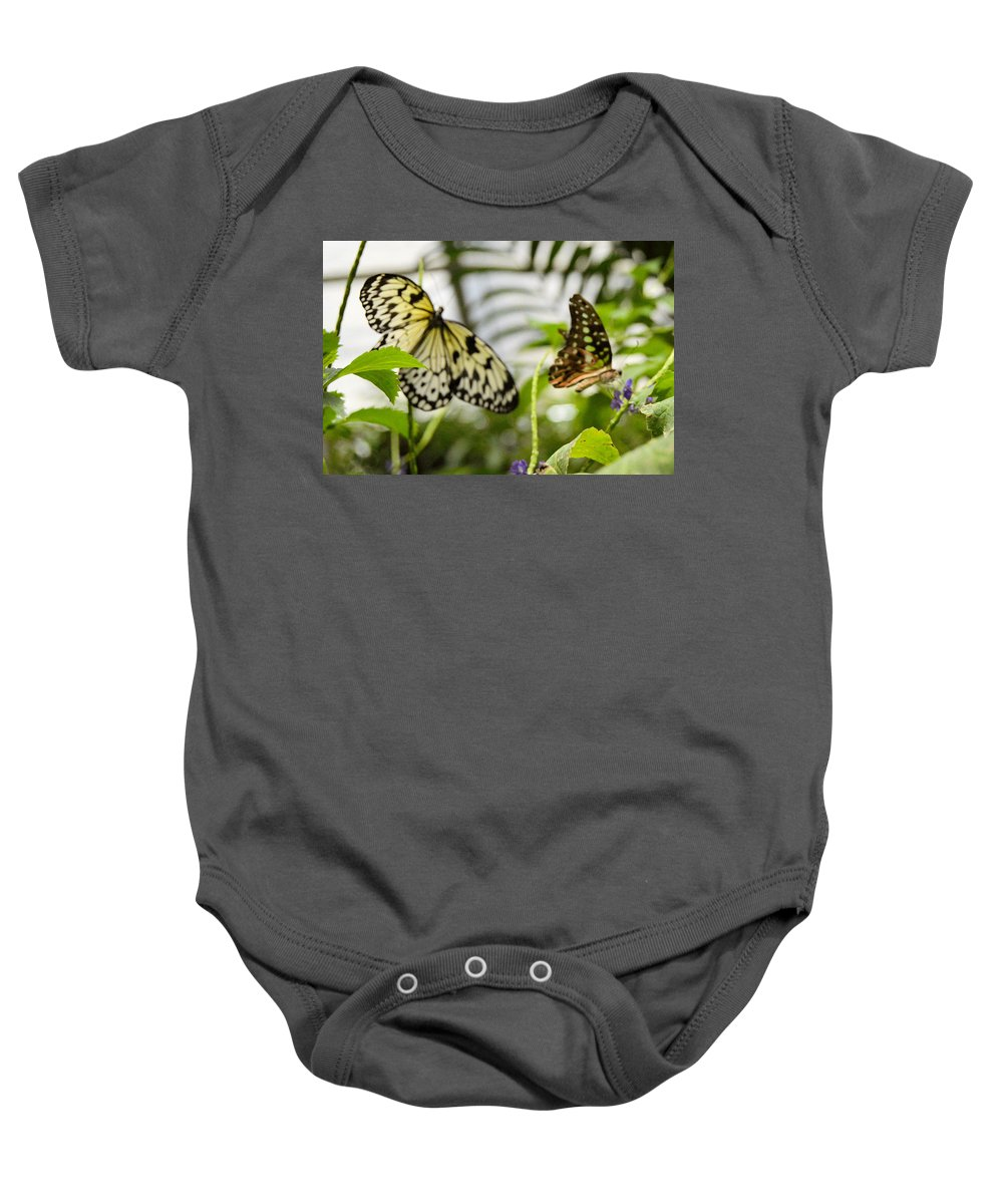 Flower Baby Onesie featuring the photograph Two Butterflies by Wendy Fox
