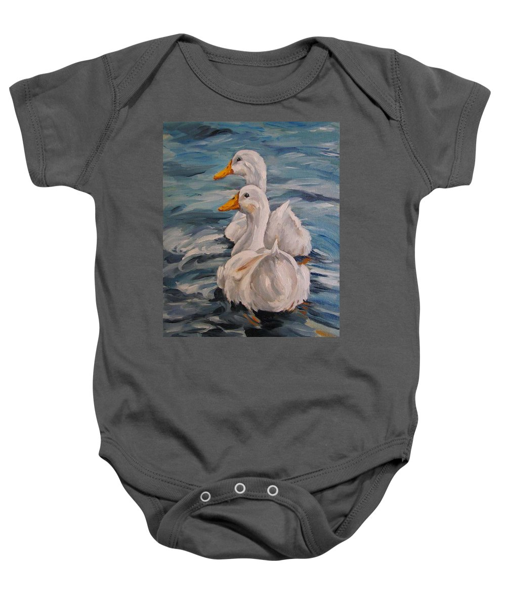 White Ducks Baby Onesie featuring the painting Two By Two by Cheryl Pass