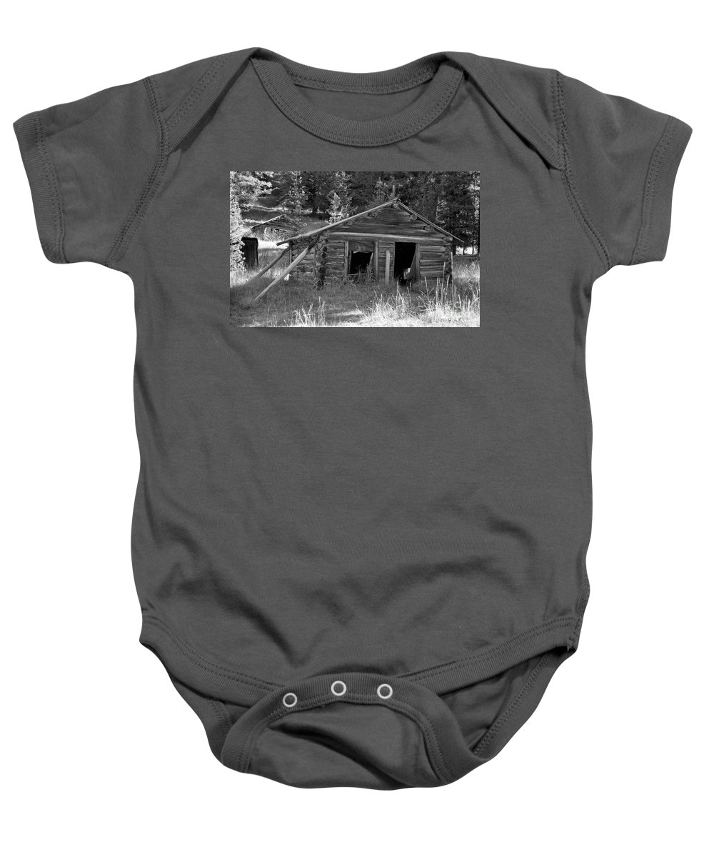 Abandoned Baby Onesie featuring the photograph Two Cabins One Outhouse by Richard Rizzo