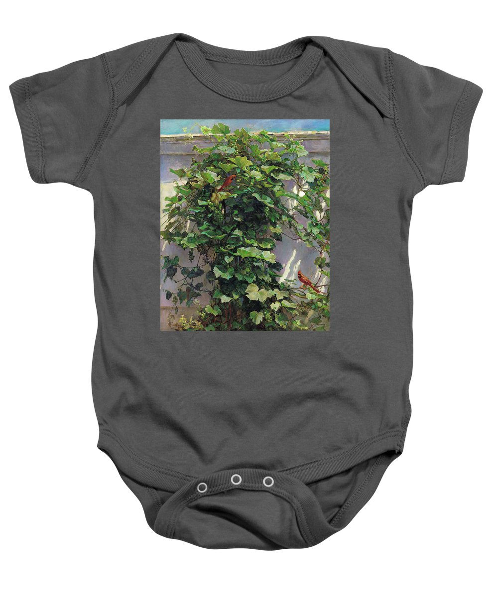 American Baby Onesie featuring the painting Two Cardinals On The Vine Tree by Svitozar Nenyuk