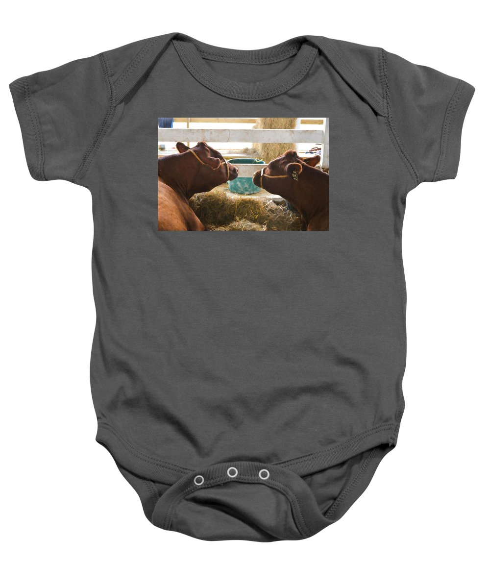 Agriculture Baby Onesie featuring the painting Two Cows by Jeelan Clark