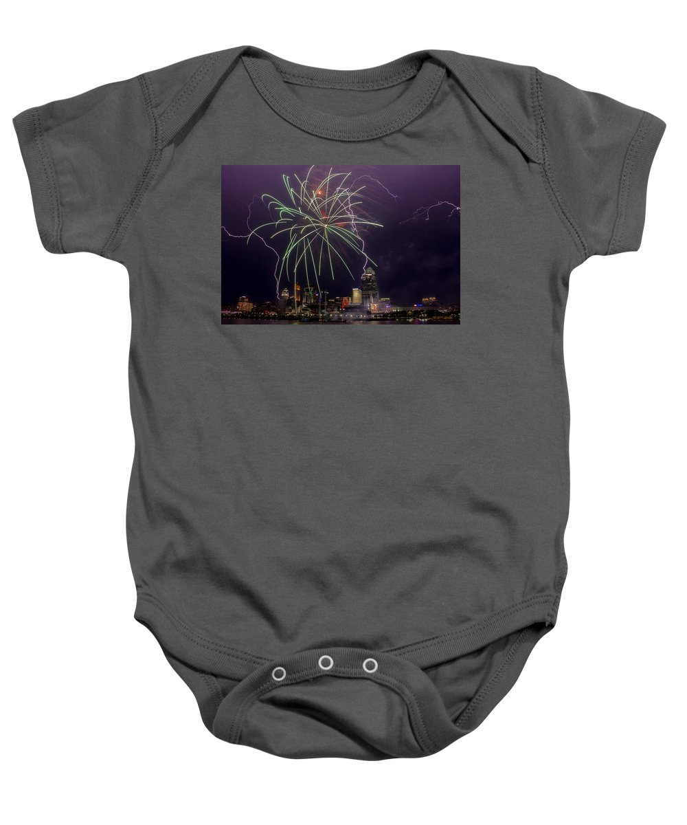 Fireworks Baby Onesie featuring the photograph Two For One by James Patterson