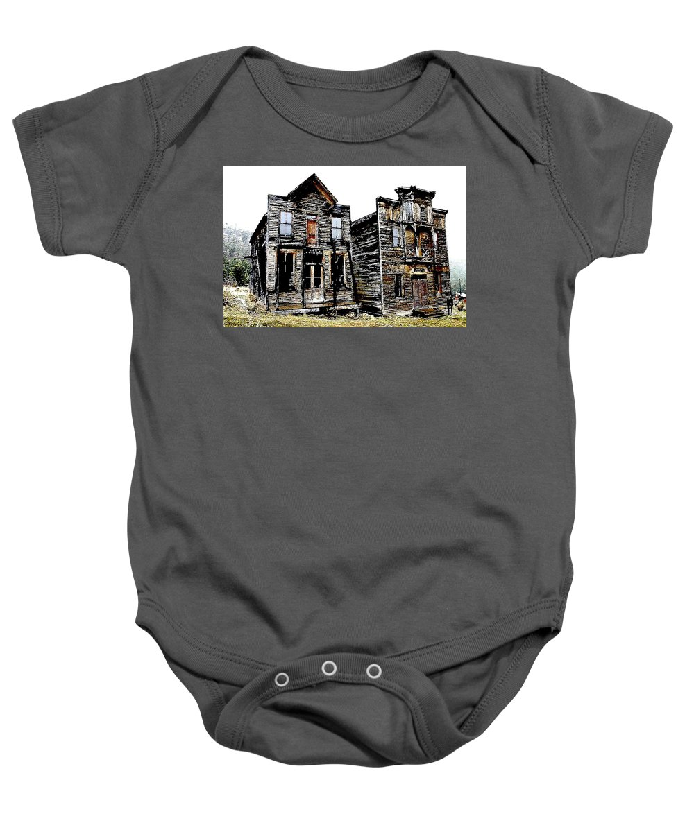 Ghost Town Baby Onesie featuring the photograph Two Ghosts by Nelson Strong