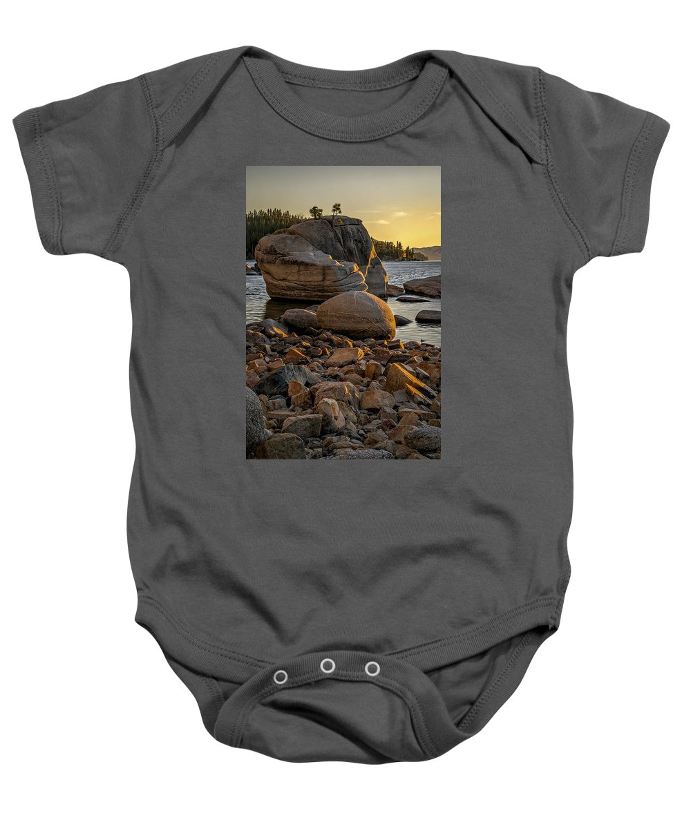 Background Baby Onesie featuring the photograph Two Small Trees by Maria Coulson