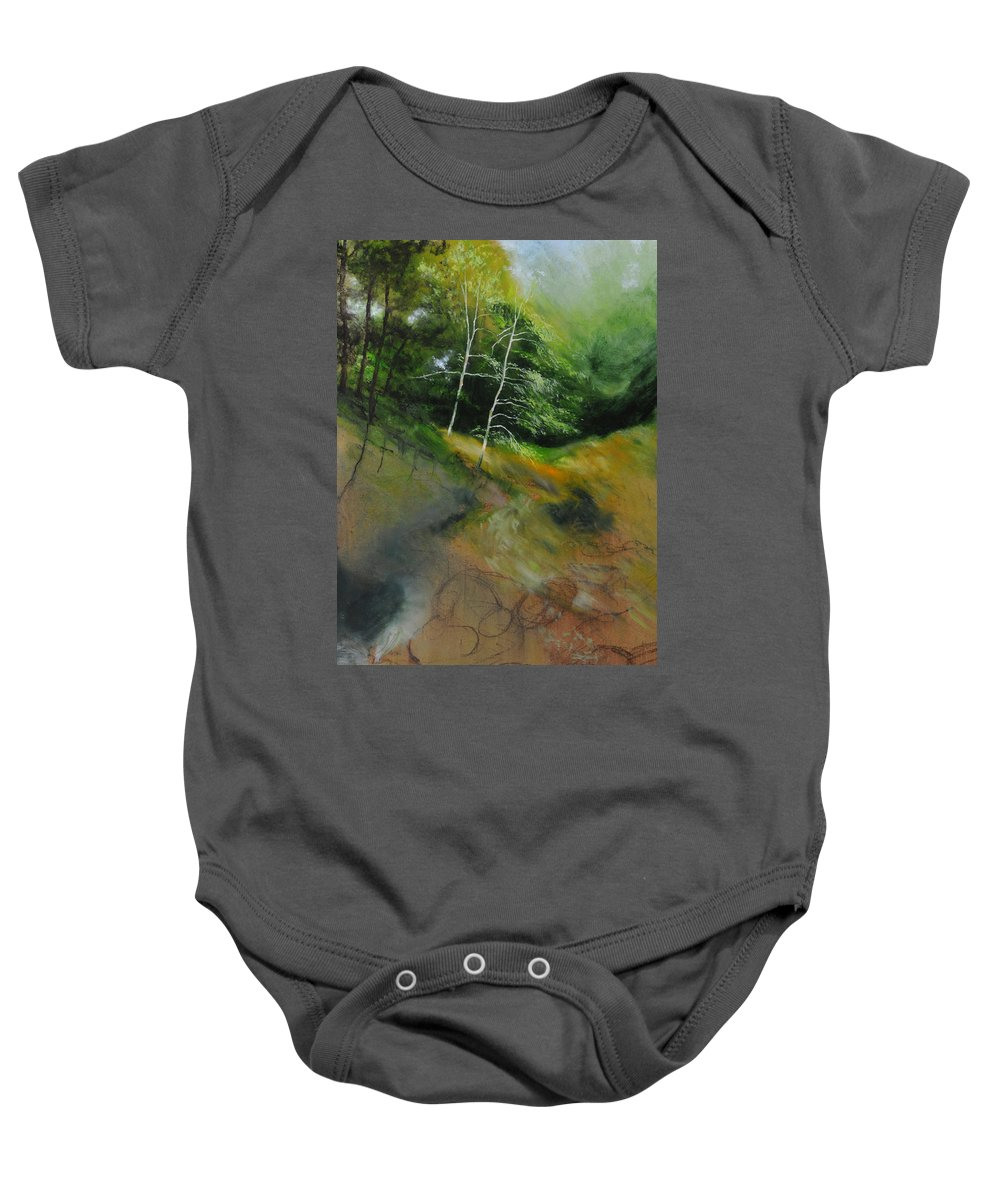 Landscape Baby Onesie featuring the painting Two Trees In Light by Harry Robertson