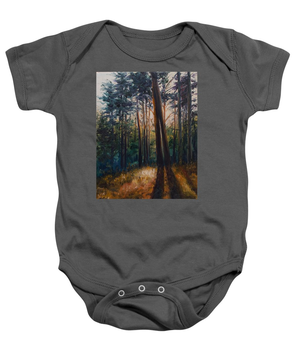 Trees Baby Onesie featuring the painting Two Trees by Rick Nederlof