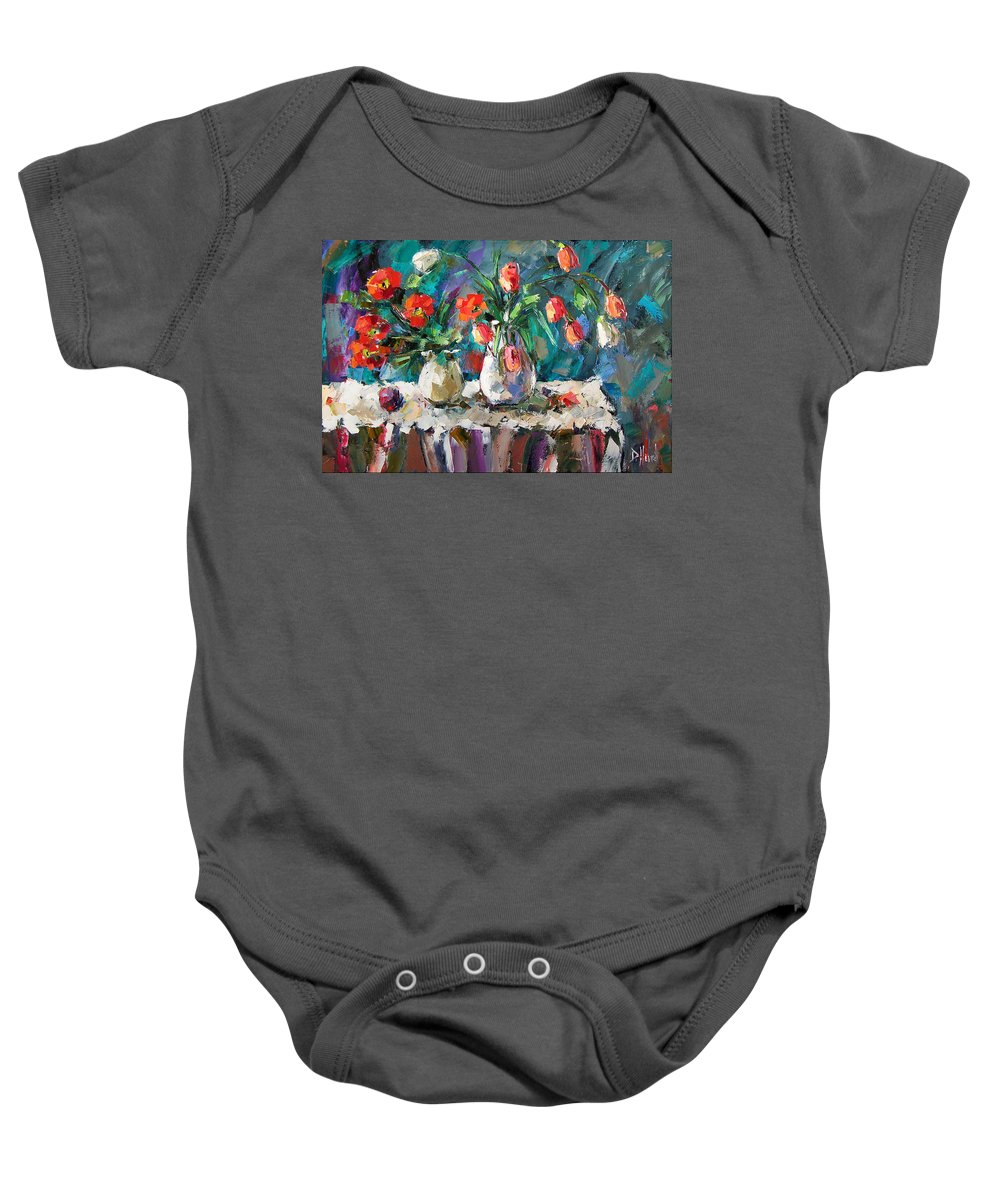 Flowers Baby Onesie featuring the painting Two White Tulips by Debra Hurd