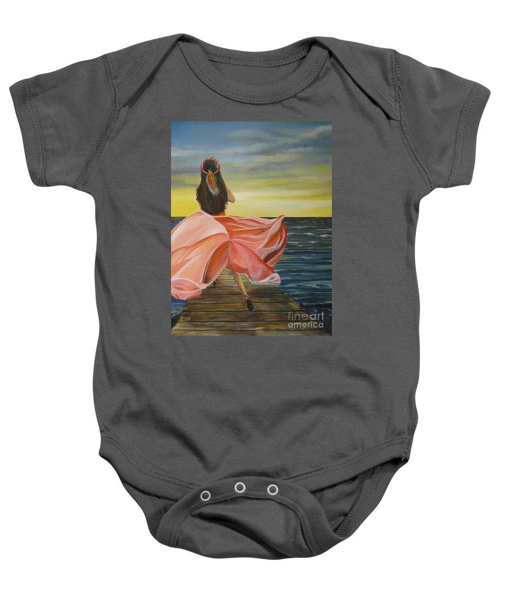 Sunset Baby Onesie featuring the painting Uhane O Ka Welo by Kris Crollard