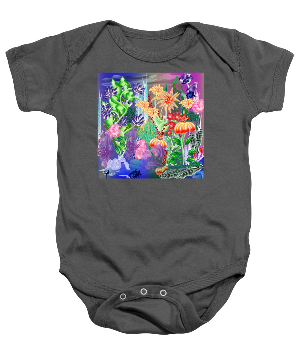 Flowers Baby Onesie featuring the digital art Under Water by Jenny Winter