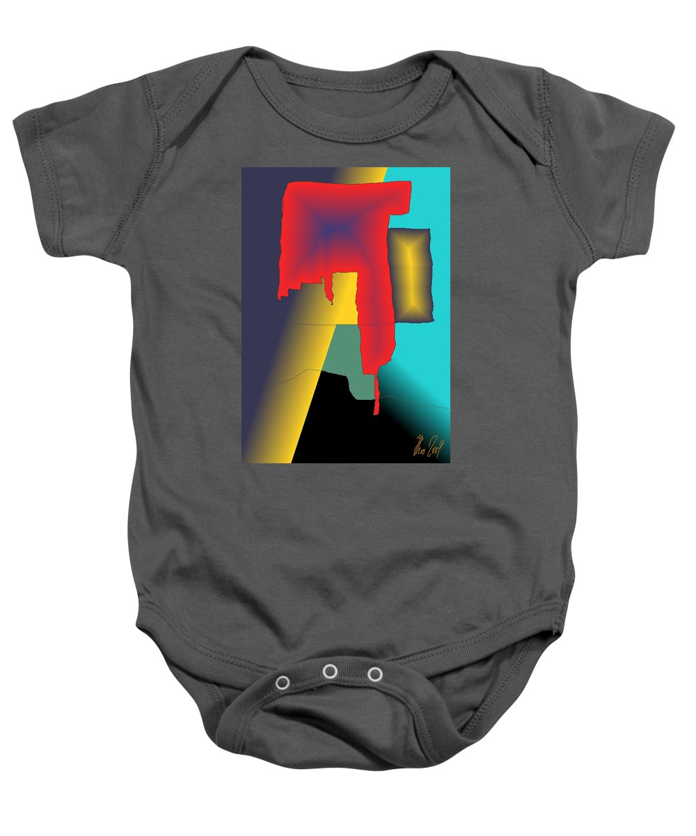 Red Baby Onesie featuring the digital art Unexpected- Red by Helmut Rottler