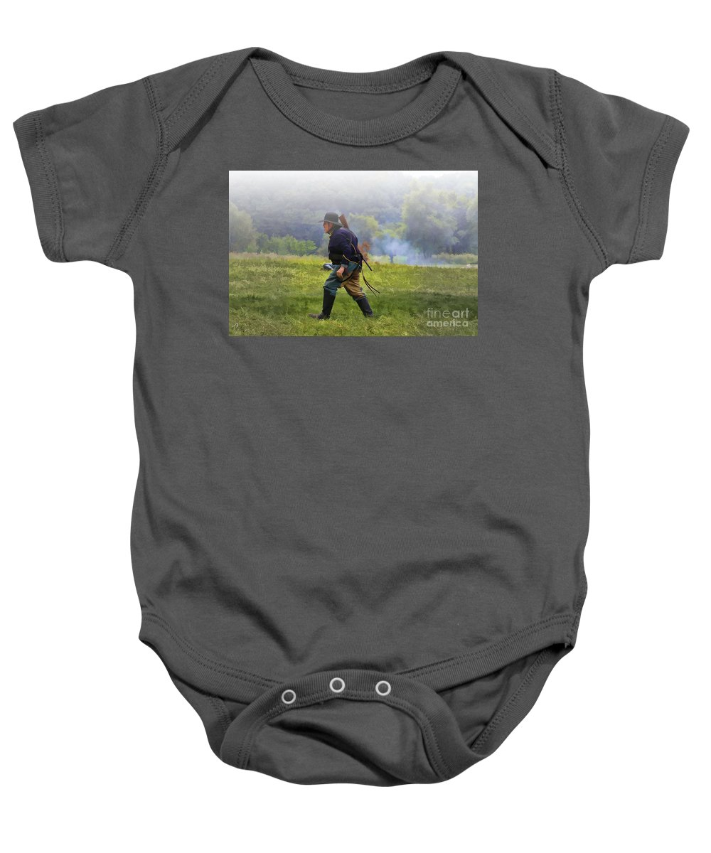 Civil War Baby Onesie featuring the digital art Union Cavalryman On Foot by Tommy Anderson