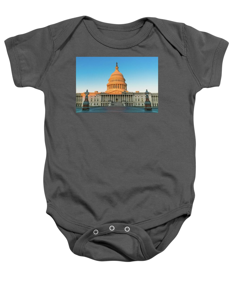 District Of Columbia Baby Onesie featuring the photograph United States Capitol by Larry Marshall